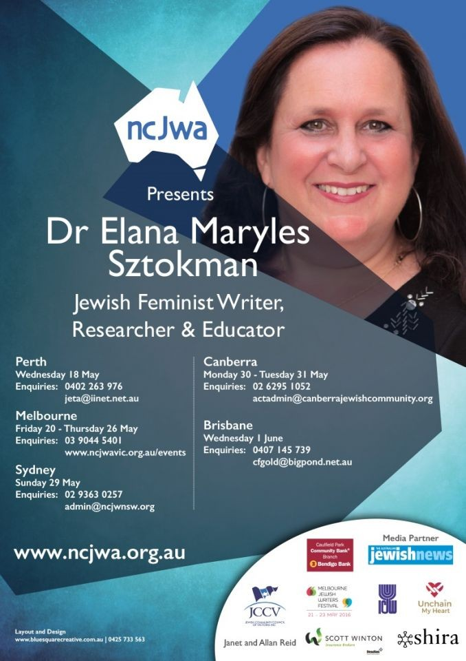 I'm going to Australia, as NCJWA Scholar-in-Residence